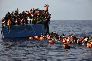Refugees on a boat in the Mediterranean Sea